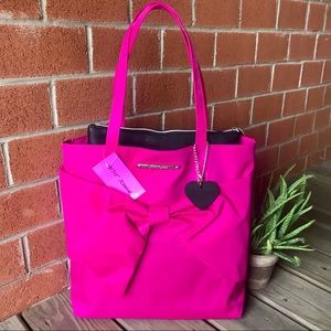 NWT Betsey Johnson Hot Pink Bow Large Nylon Tote